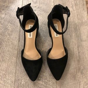 Black suede pointy toe chunky heels | Steve Madden